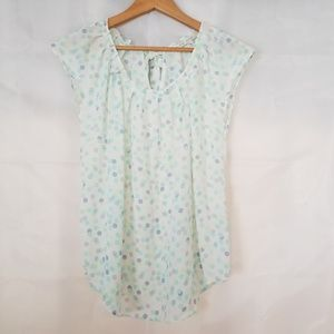 LC Lauren Conrad Polka Dot Blouse Medium Medium